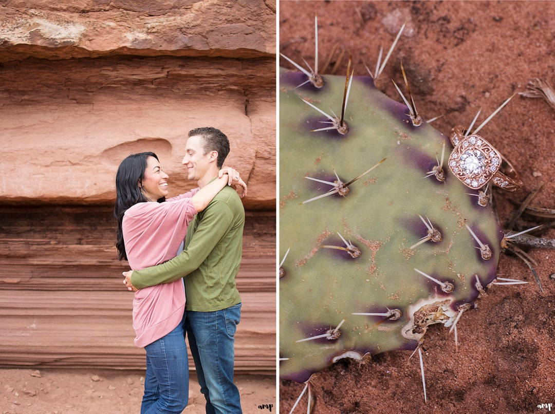 Engagement Ring shot with a cactus