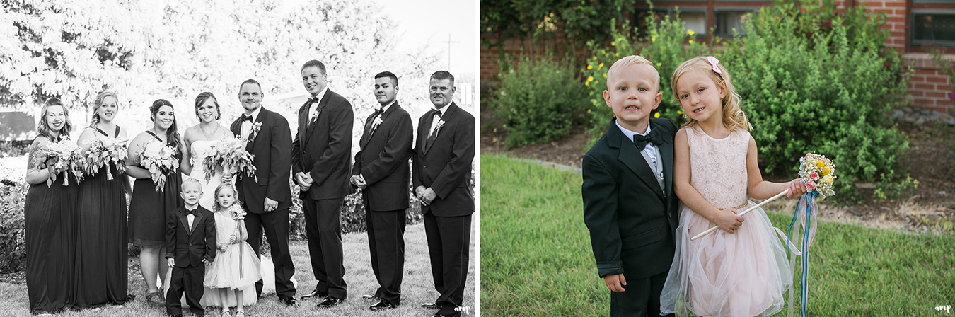 Wedding party and flower girl with the ring bearer