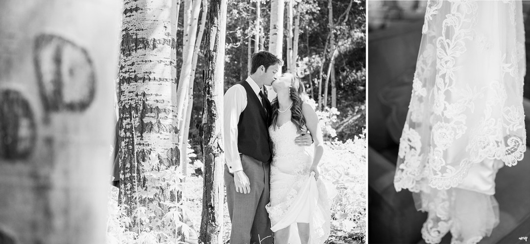 Bride and groom kiss in an aspen grove