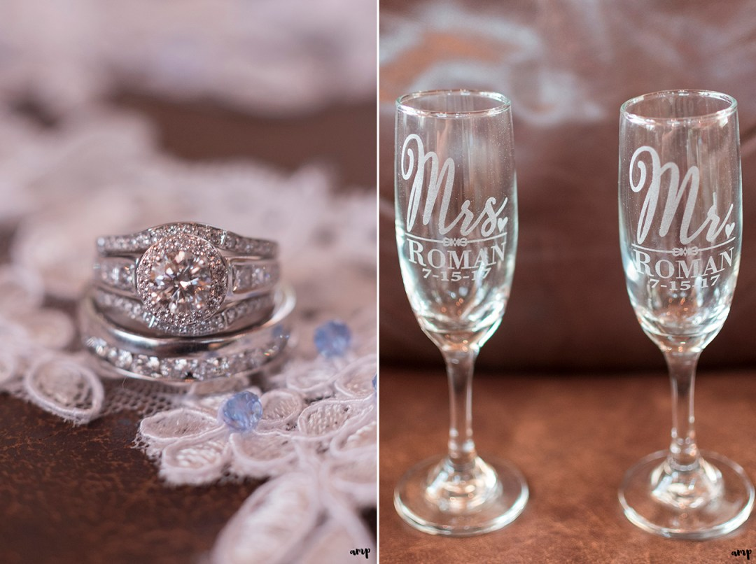 Customized champagne glasses