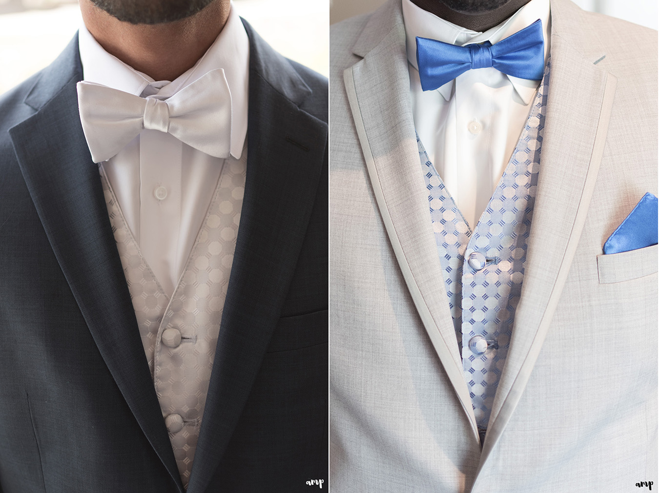 Groomsmen attire with blue and silver colors