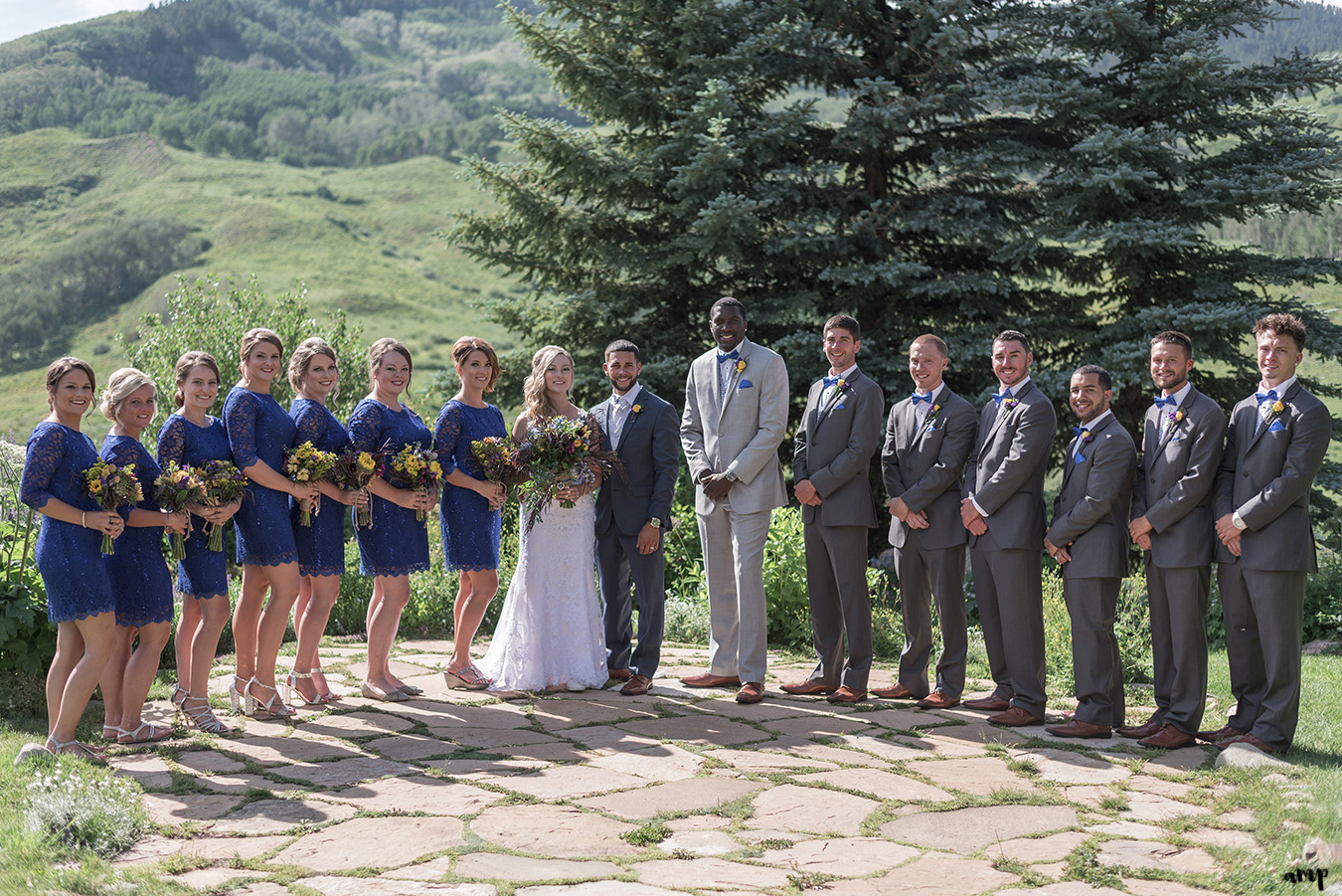 Full bridal party at the Crested Butte Mountain Wedding Garden