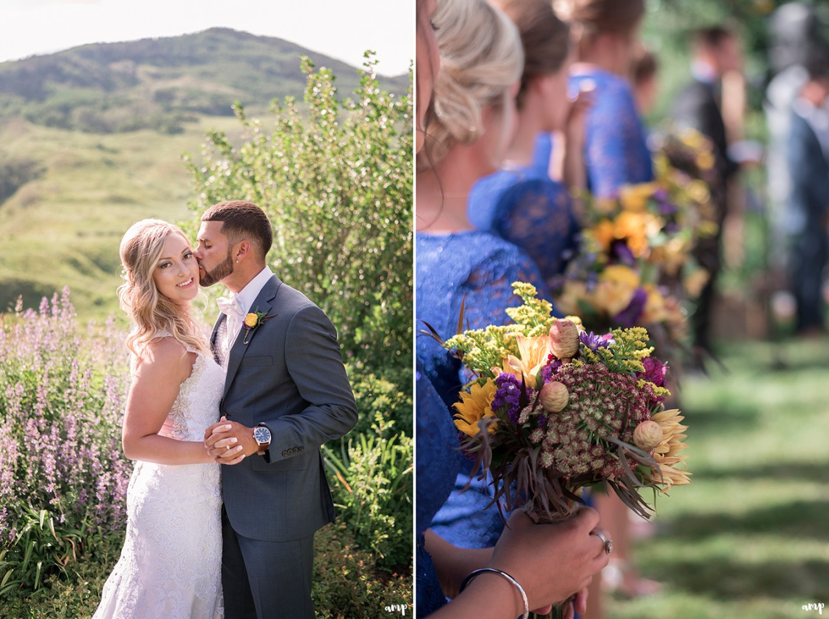 Bride and groom kiss in the Crested Butte Mountain Wedding Garden among the wildflowers