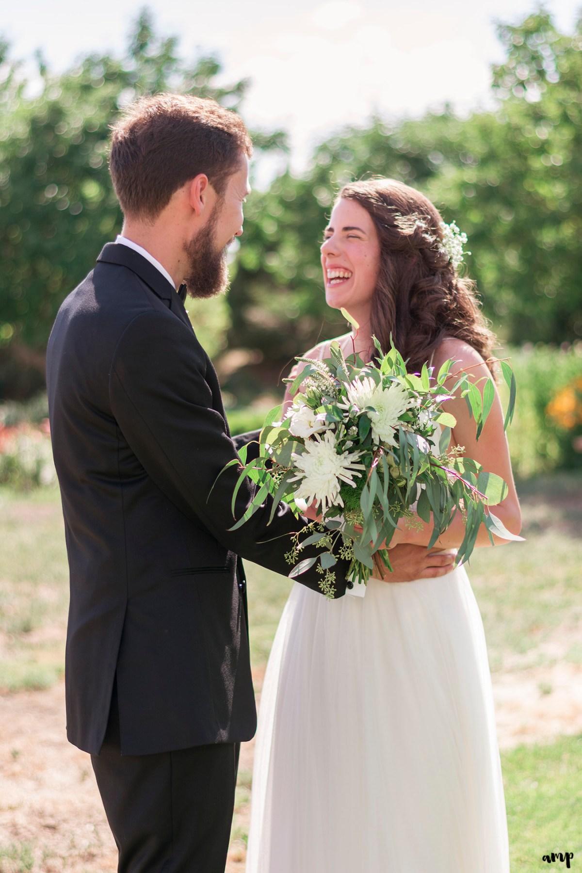 Those just married giddy feels between bride and groom