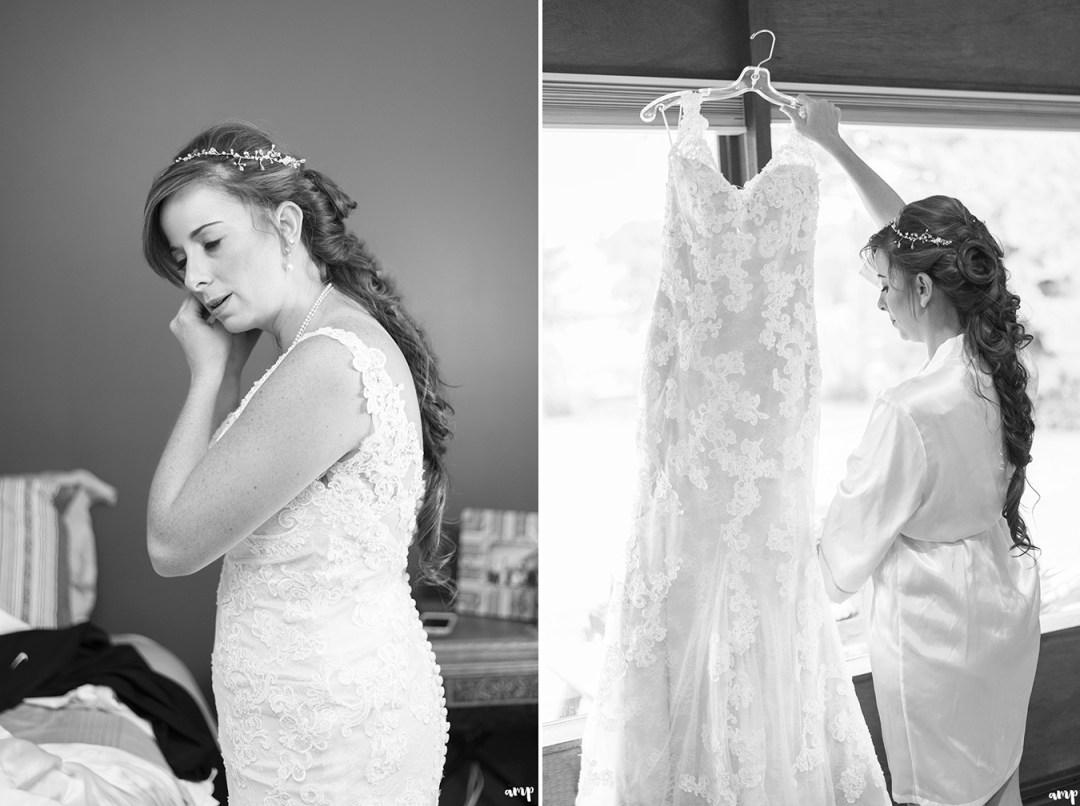 Bride getting ready for her gunnison wedding along ohio creek