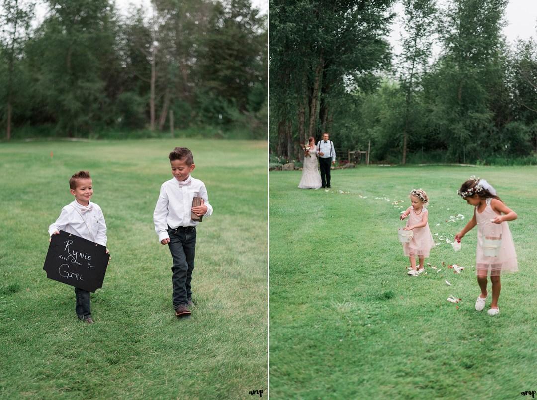 Ring bearers and flower girls during Gunnison wedding