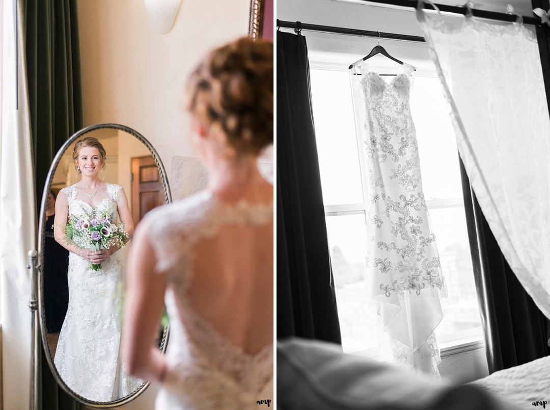 Bride looking in the mirror as she gets ready