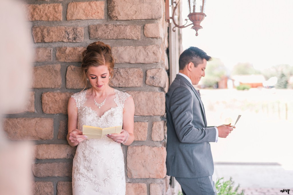 Bride and Groom exchanging love letters before their wedding