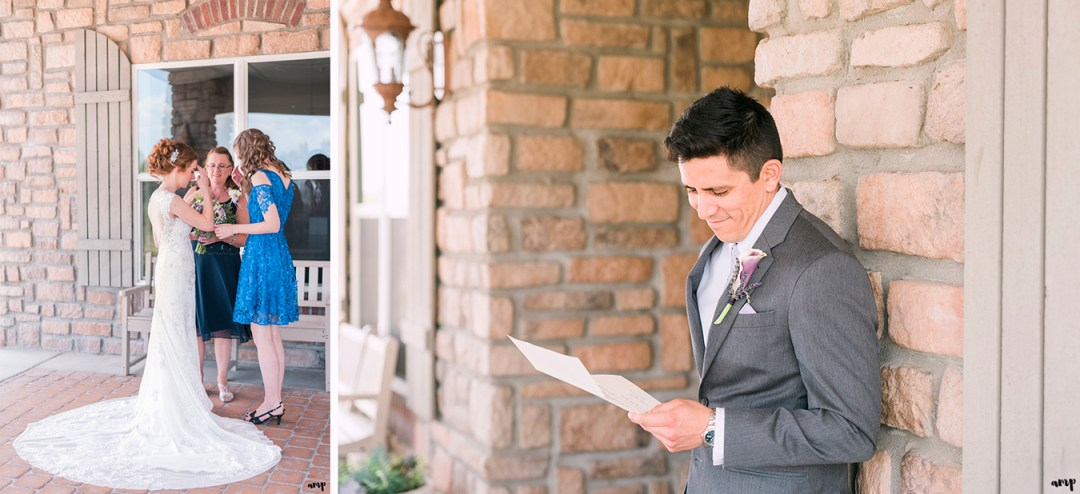 Groom reading his bride's love letter and bride praying