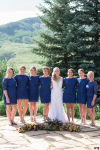 Navy bridesmaids dresses in the same style