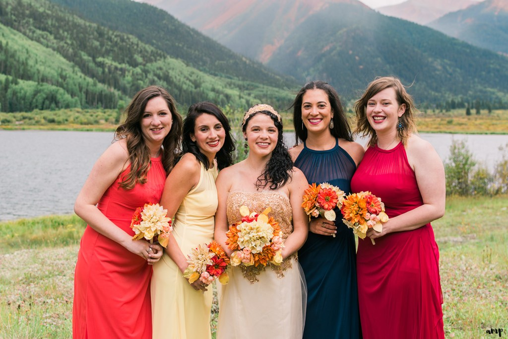 Bridesmaids dresses in fall colors