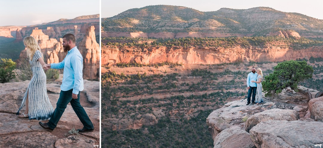 Engaged couple hiking for their adventure engagement session