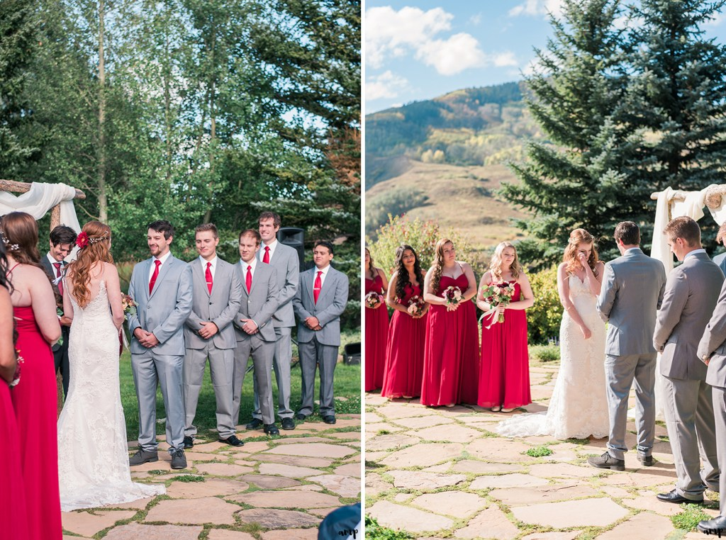 Bride and groom during their Fall Wedding Ceremony in Crested Butte at the Mountain Wedding Garden | amanda.matilda.photography