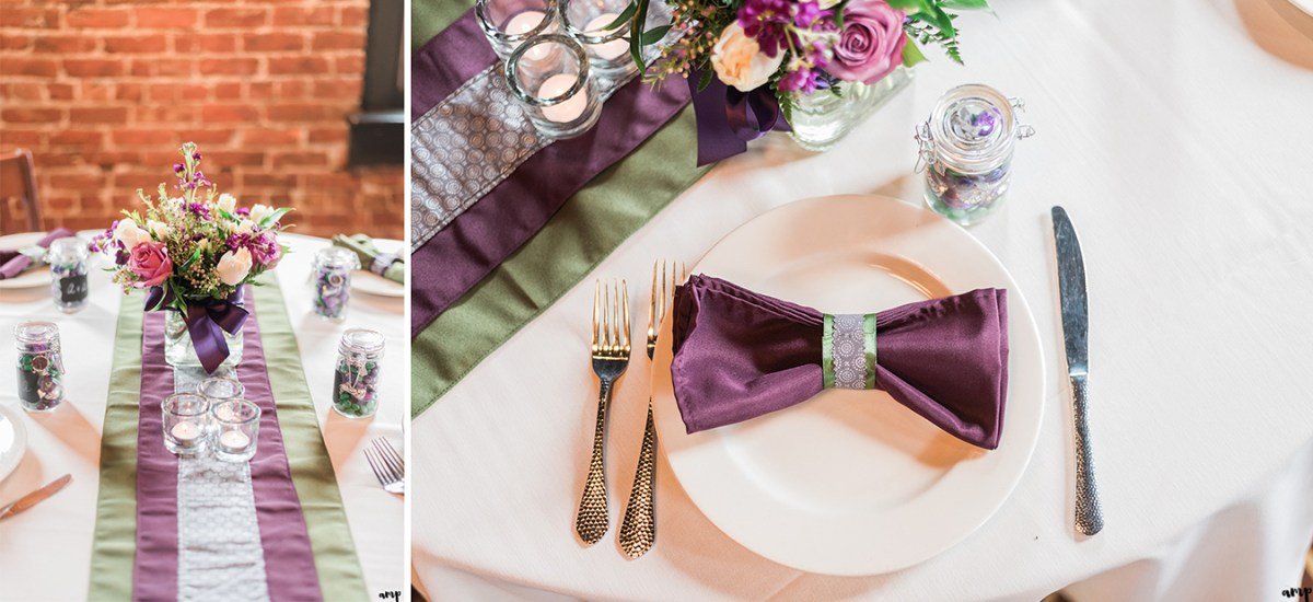 Purple and green table decorations for Courthouse Wedding in Omaha | amanda.matilda.photography