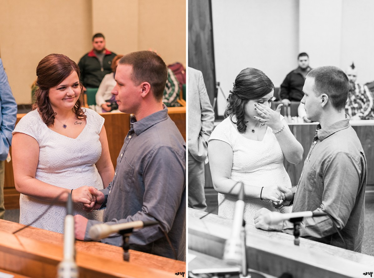 Couple exchanges vows in the Courthouse Wedding in Omaha