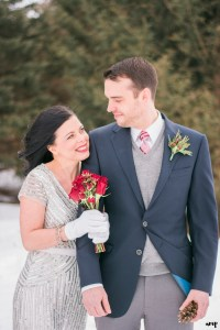 Winter wedding couple portrait
