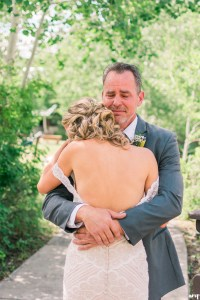 Father daughter first look   Father of the bride crying