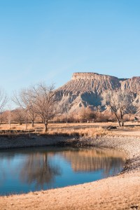 View of Mt. Garfield from Palisade River Ranch - Western Slope Wedding Venues with amanda.matilda.photography