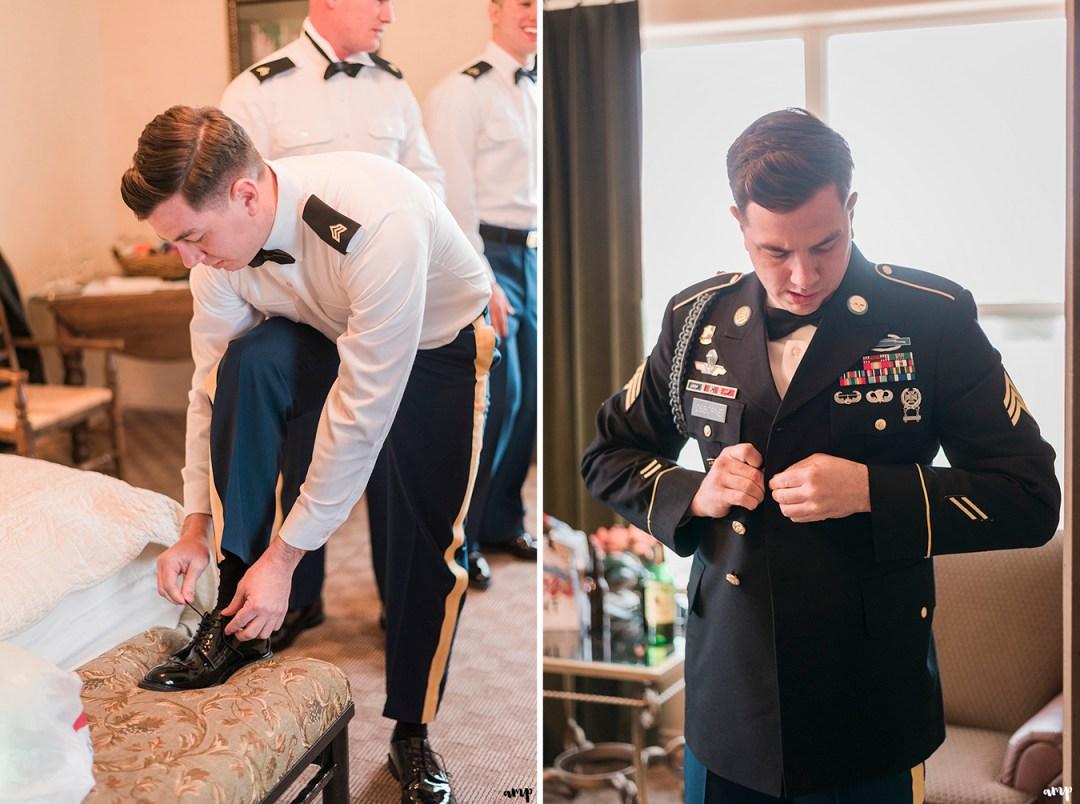 Army Groom getting ready for the wedding