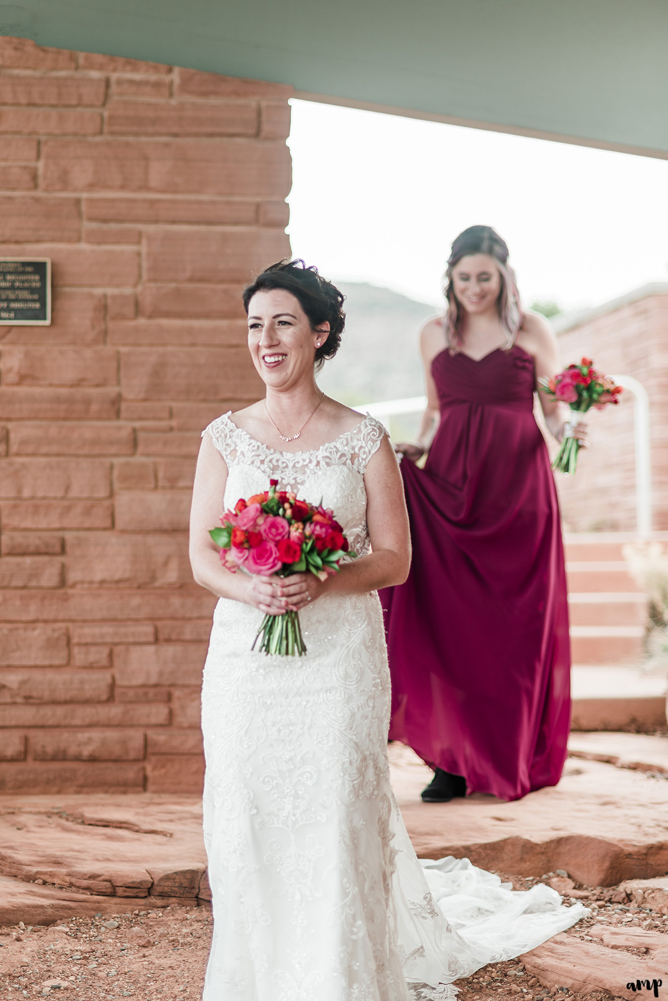 Bride walks into ceremony at their elopement on the Colorado National Monument | amanda.matilda.photography