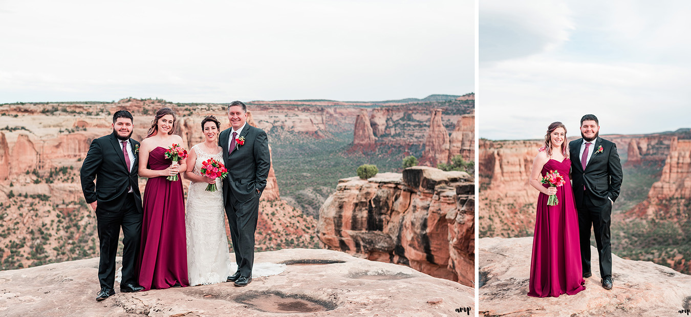 Wedding couple and party on cliff in Colorado National Monument