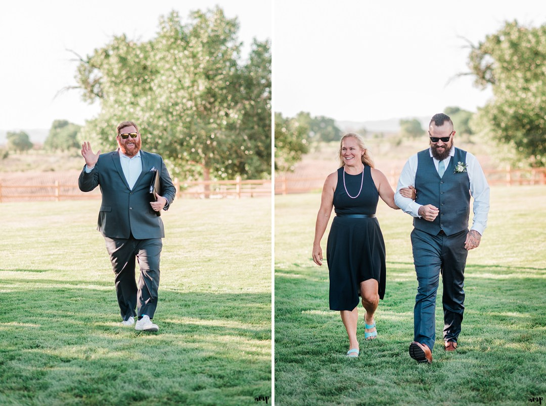 Derek the officiant and Dustin with his mom walking down the aisle | Grand Junction Backyard Wedding | amanda.matilda.photography