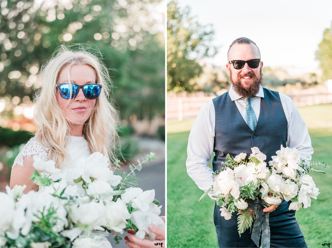 Individual Images of Beth and Dustin holding the bouquet with shades on | Grand Junction Backyard Wedding | amanda.matilda.photography