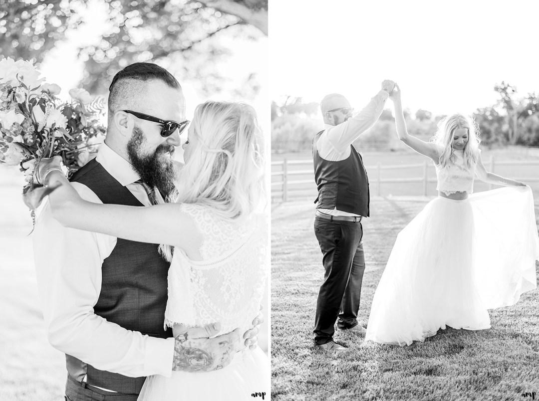 Dustin twirling Beth at sunset | Grand Junction Backyard Wedding | amanda.matilda.photography
