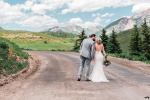 Dan and Courtney walk down the road to Gothic at the edge of Crested Butte