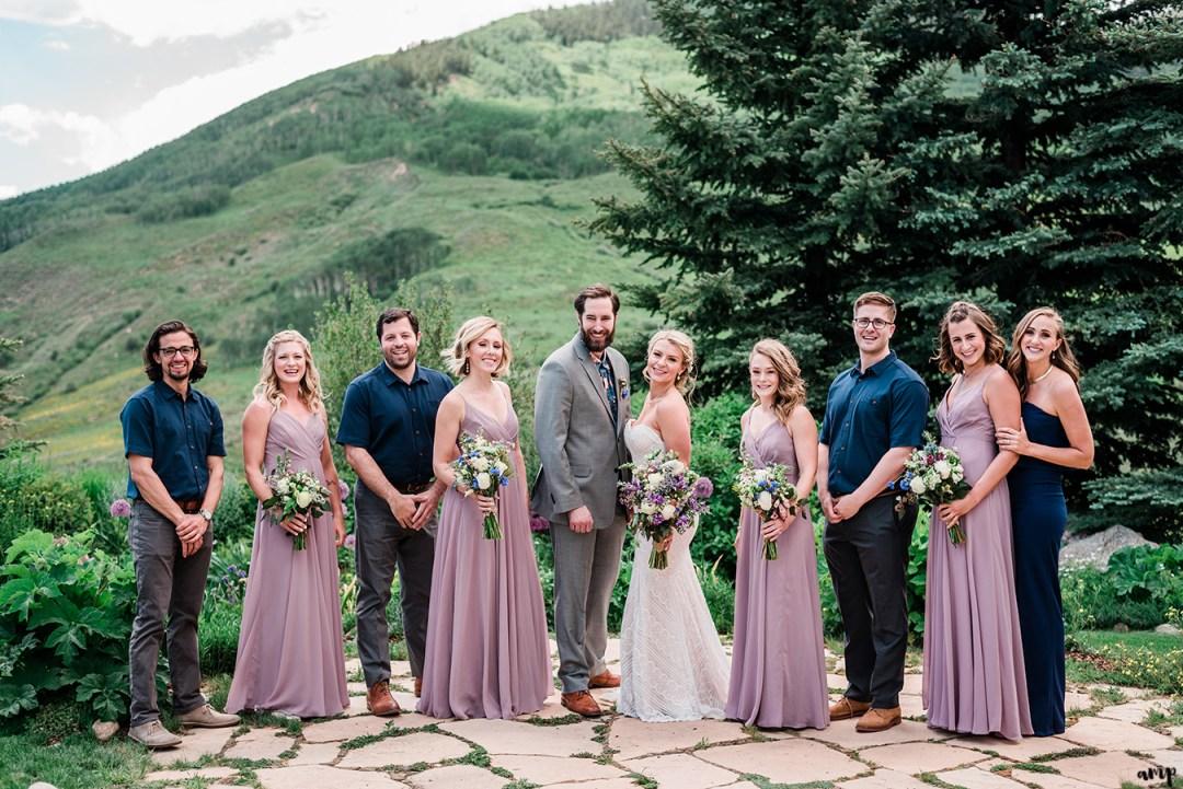 Full wedding party at the Mountain Wedding Garden
