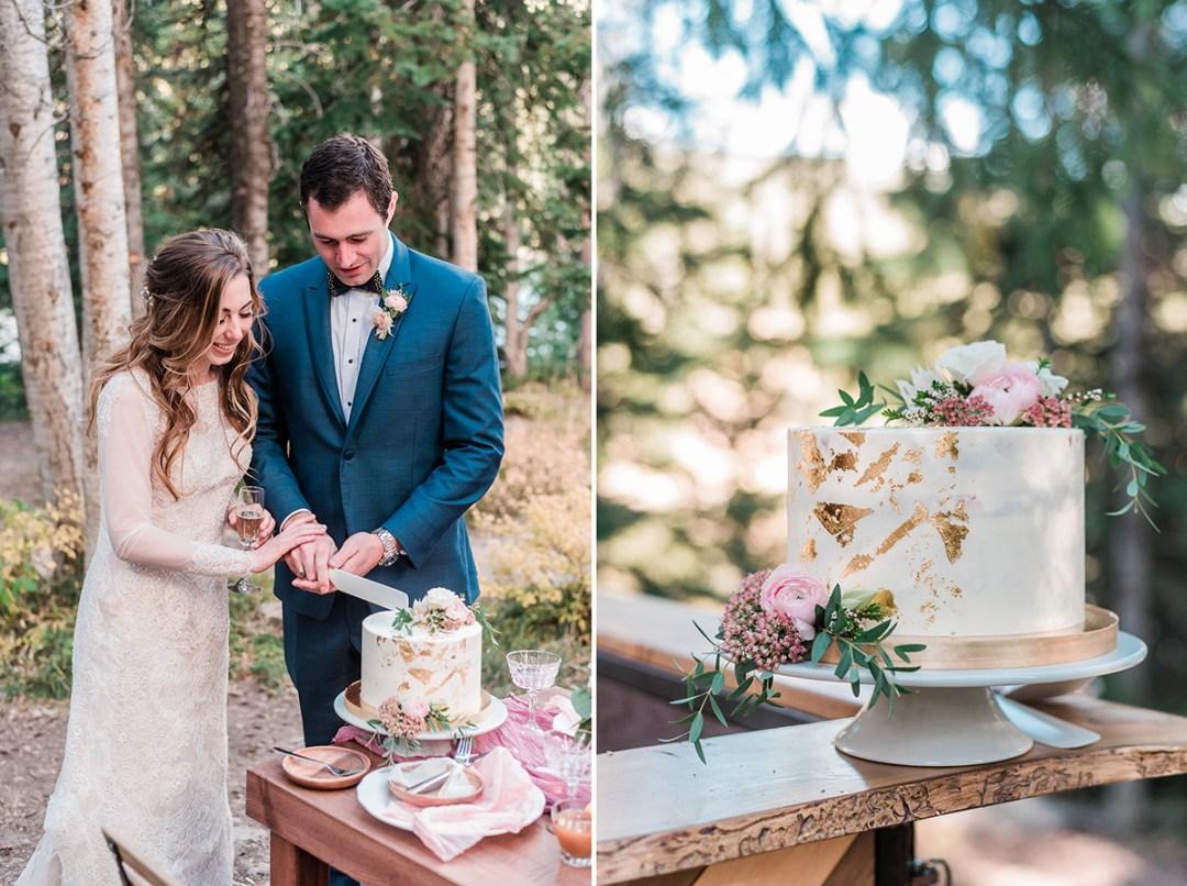 William & Amy cutting their cake at Lake Irwin