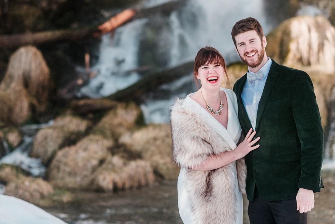 Marion & Nathan | Winter Engagement Photos at Rifle Falls State Park