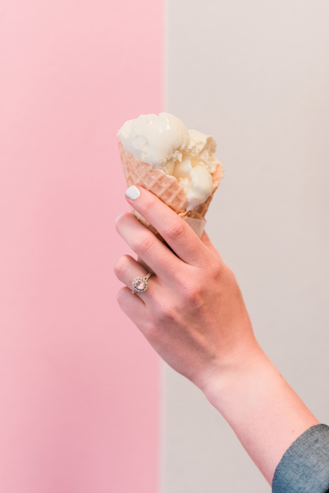 Ice cream cone and engagement ring