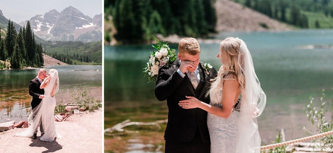 Bride and Groom first look at Maroon Bells in Aspen