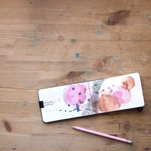 Pink Watercolor Sketchbook by Amanda Michele Art