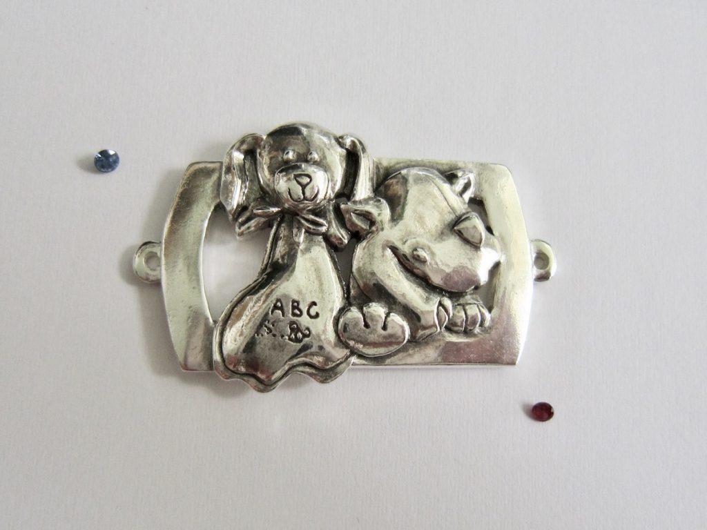 Baby Rhinoey & Barkety Barks Bracelet, with 2 gems. Sapphire and Ruby