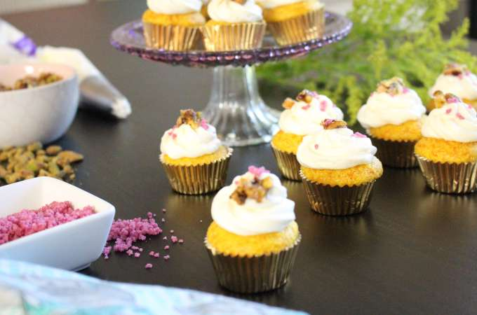 Turmeric Cake Honey Buttercream and Candied Pistachios