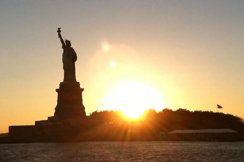 NYC Statue of Liberty sunset
