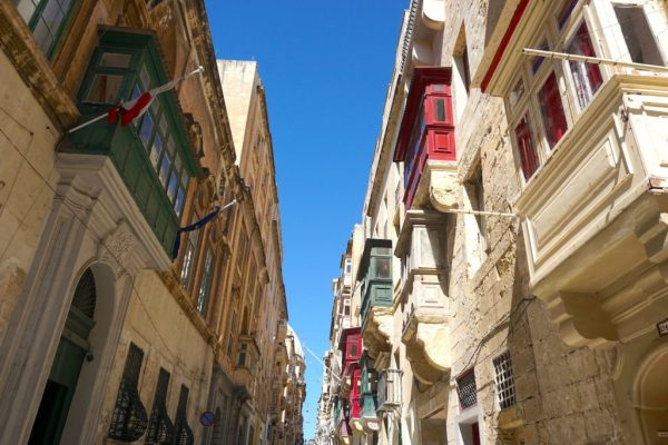 The famous, colorful balconies of Valletta, Malta