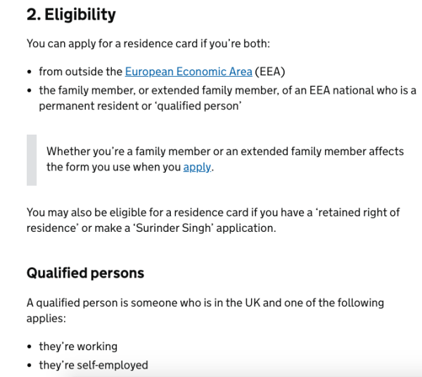 eligibility criteria to apply for UK residency as the family member of an EEA National