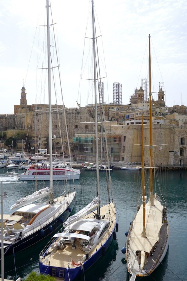 Sailboats in the Grand Harbour of Malta and the ferry to Valletta