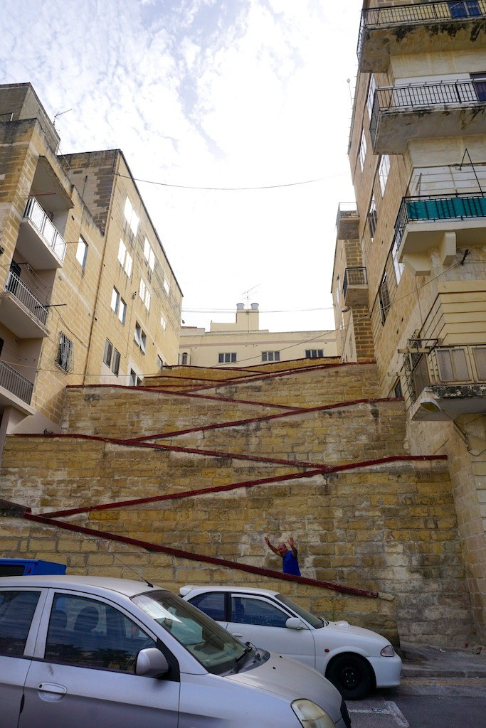 Zig zag staircase in the Three Cities in Malta