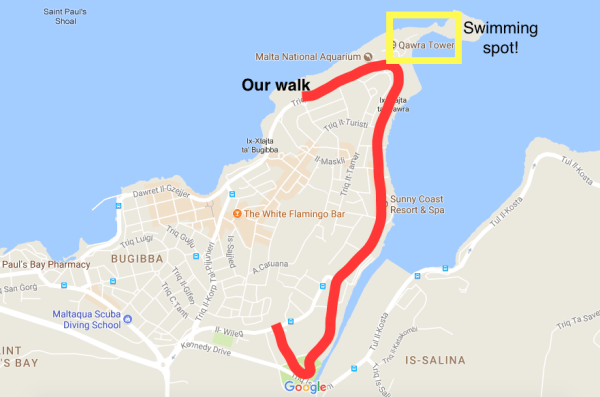 Walking around Qawra from Bugibba in Malta