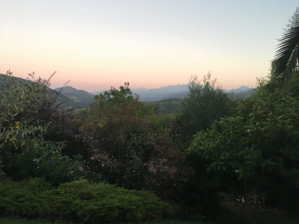 Beautiful Asturias Spain with the sun setting over the Picos de Europa