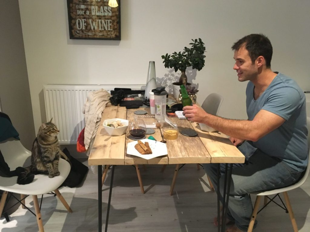 Jonathan Clarkin catsitting Pippin in London