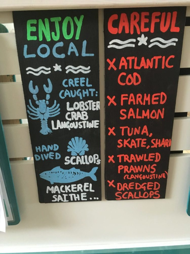 Local seafood recommendations and guidelines from the conservation association on the Isle of Arran