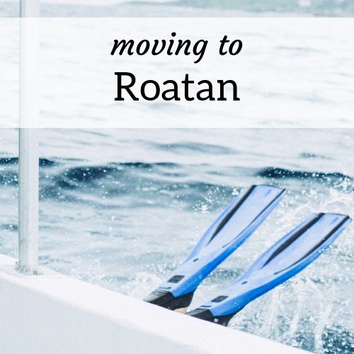 "A diver's fins entering the water off the side of a boat; text reads ""Moving to Roatan"""