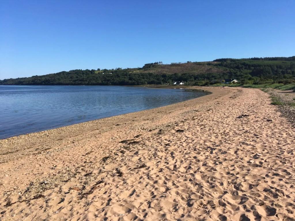 Soft sandy beach of Lamlash Bay in Arran Scotland