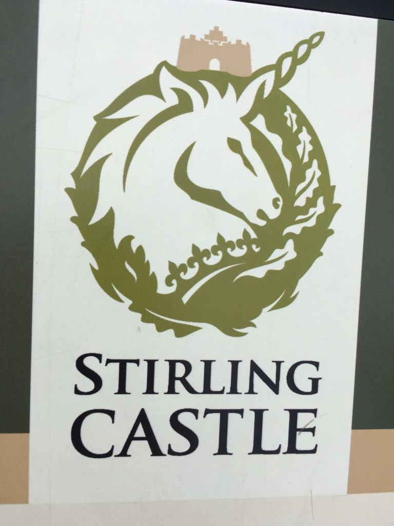 Sign for Stirling Castle with a unicorn