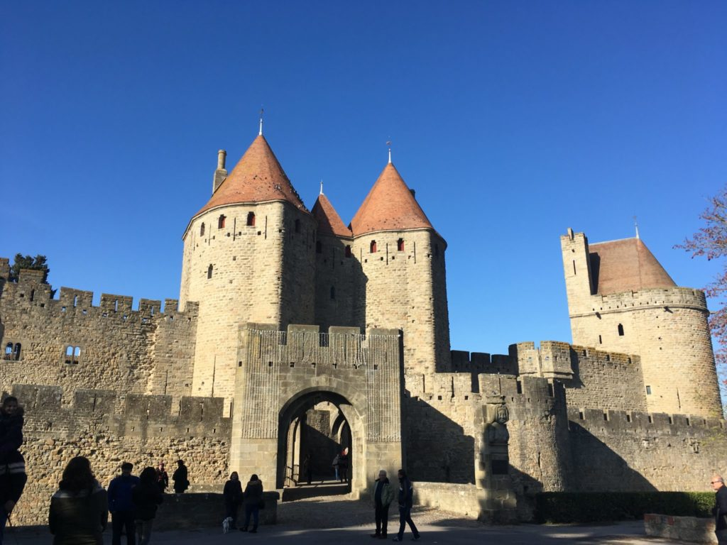 Castle of Carcassonne is quiet in winter